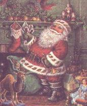 Santa Claus in front of a fireplace