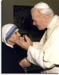 Pope John Paul embraces Mother Theresa