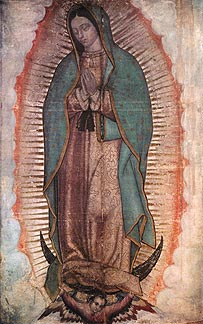 Tilma impressed with the image of Our Lady of Guadalupe